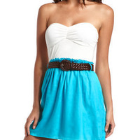 Belted 2-Tone Tube Dress