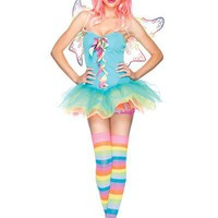 GREEN 3PC RAINBOW FAIRY SEXY COSTUME OUFIT