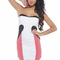 Strapless Colour Block Fitted Dress