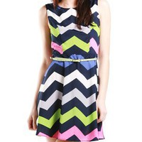 A'GACI Multi Zig Zag Fit And Flare Dress - Dresses