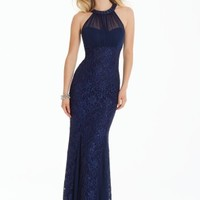 Glitter Lace Halter Dress with Illusion Back