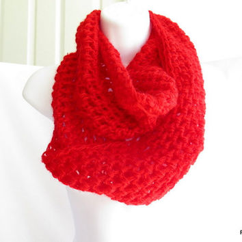 Red mohair cowl, cozy red infinity scarf, hand crochet loop scarf