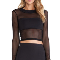 Donna Mizani Long Sleeve Banded Top in Black