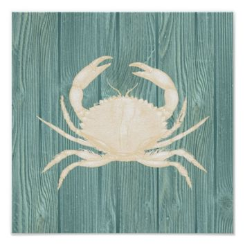 Crab Vintage Aqua Wood Beach Poster