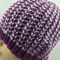 Hat Beanie Striped Purple Gray Mens Womens Bernat Softee Chunky yarn