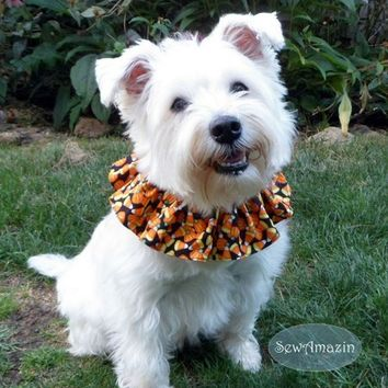 Halloween Treats Candy Corn and Pumpkins Scrunchie Neck Ruffle