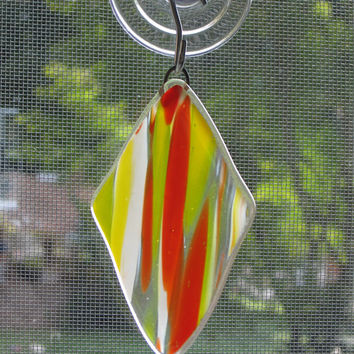 Orange and Yellow Swirl Fused Glass Ornament - Christmas Decoration - Suncatcher - Christmas Ornament