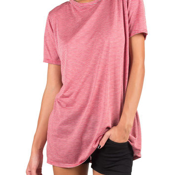 Casual Pin Stripe Oversized Tee - Red - Red /
