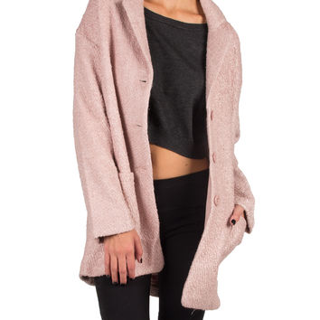 SIMPLE COLLAR TWO POCKET COAT - PINK