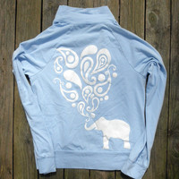 White Paisley Elephant Graphic Swirly Design on Light Blue Track Jacket