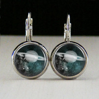 Round Glass Bezel Earrings Jewelry Moon Space Earrings Silver (A3648E)