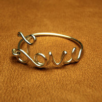 love wire ring  - love sterling silver wire script ring- Special price sterling silver wire 925- keoops8 shop
