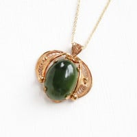Vintage 12k Gold Filled Nephrite Jade Pendant Necklace - Retro Cannetille Filigree Jewelry, with Dark Green Oval Gem Cabochon
