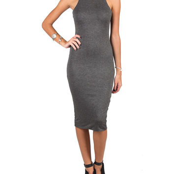 HIGH NECK BODY CON DRESS - CHARCOAL