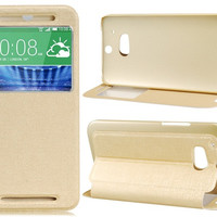 Flip Case with Mount Stand & Screen Display Window for HTC M8