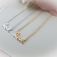 LOVE necklace CHOOSE ONE silver / gold