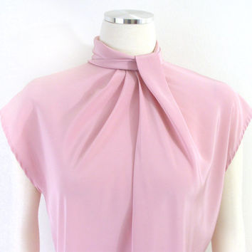 Vintage 1980s Delicate Drapey Rose Pink Secretary Blouse - Ladylike Silky Women's Kimono Sleeve Top - Size Medium