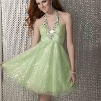 Halter v-neckline beaded green tulle short Prom Dresses 2012 PDM366