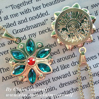 New Design Together In Paris Necklace Anastasia Flower Key Charm Engraved Cubic Zirconia Emerald Siam #4