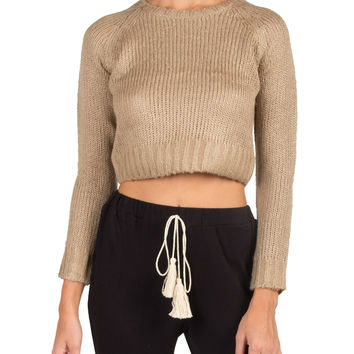Cropped Long Sleeve Knitted Sweater - Beige - Beige /