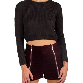 CROPPED LONG SLEEVE KNITTED SWEATER - BLACK