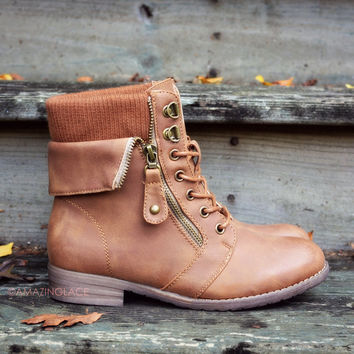 Sergeant Sassy Camel Sweater Ankle Boots