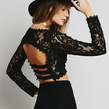 Free People Womens Floral Lace Set - Black