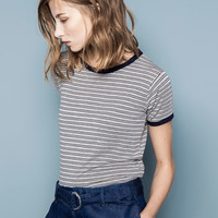 STRIPED PRINT T-SHIRT - T-SHIRTS AND TOPS - WOMAN - PULL&BEAR United Kingdom