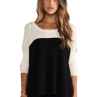 Luxe Cashmere Colorblock Sweater in Ivory & Black
