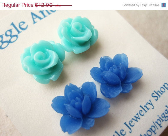 Stud Flower Earrings. Resin Flower Earrings. Rose Earrings and Cobalt Blue Lotus Earrings. Summer Fashion. Ocean Shades, Beach Style. FSE2