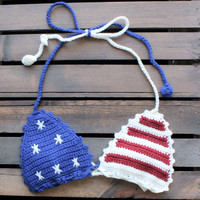 american flag crochet bralette festival crop top 4th of july memorial day coachella
