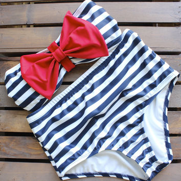 navy high waisted sailor bikini swimsuit swimwear bathing suit