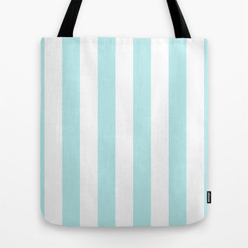 Turquoise Aqua Blue Stripe Vertical Tote Bag by BeautifulHomes