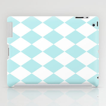 Turquoise Aqua Blue Diamond iPad Case by BeautifulHomes