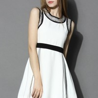 Contrast Embellished Pleated Dress White