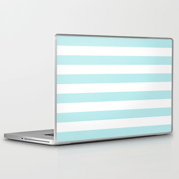 Turquoise Aqua Blue Stripe Horizontal Laptop & iPad Skin by BeautifulHomes