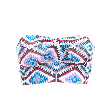 TRIBAL PRINT LONG LINE BANDEAU BRA