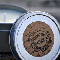 Scented Soy Candles for Coastal Living  Very Vanilla Soy Candle / 4 oz. Handmade Scented Spa Tin
