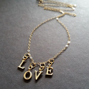 ARS AMATORIA- Love Dangle Charms Gold Filled Chain Necklace