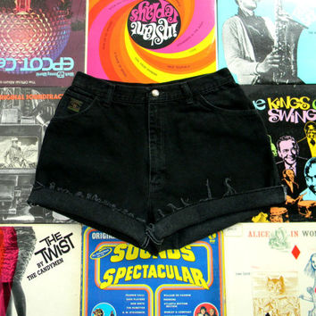 High Waisted Denim Shorts - 90s Black Jean Shorts - High Waist, Frayed, Rolled Up, Cuffed Denim Shorts by Wrangler Misses Size 12 L Large