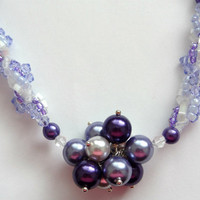 Lilac and White Spiral Beaded Necklace