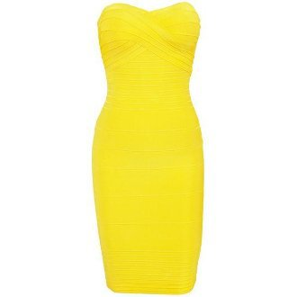 Strapless Bandage Dress Yellow