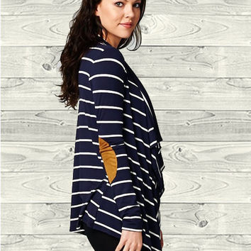 Elbow Patch Striped Cardigan Navy White