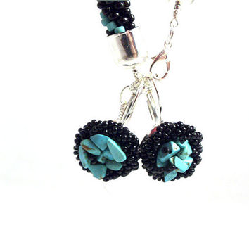 Turquoise dangle earrings , beaded black earrings with turquoise and seed beads ,beaded jewelry, beadwork