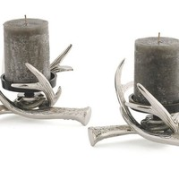 Pair of Antler Pillar Holders, Silver