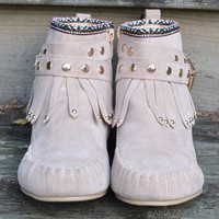 Bear Camp Tribal Studded Taupe Moccassin Booties