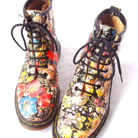 90&#x27;s Floral Doc Martin Boots