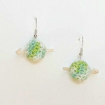Earrings: small ball of yarns with mini polymer clay hook, gift for crocheter