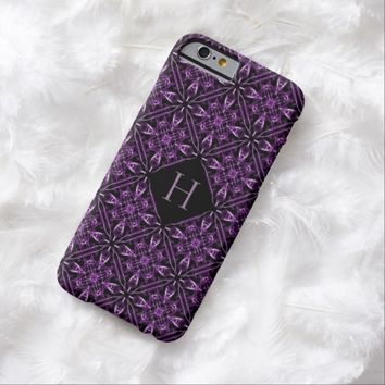 Custom Initial Victorian Purple Fractal Pattern iPhone 6 Case