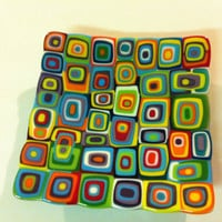 Multi coloured, handmade, fused glass platter/fruit bowl/or just for display, reminiscent of hard candy.